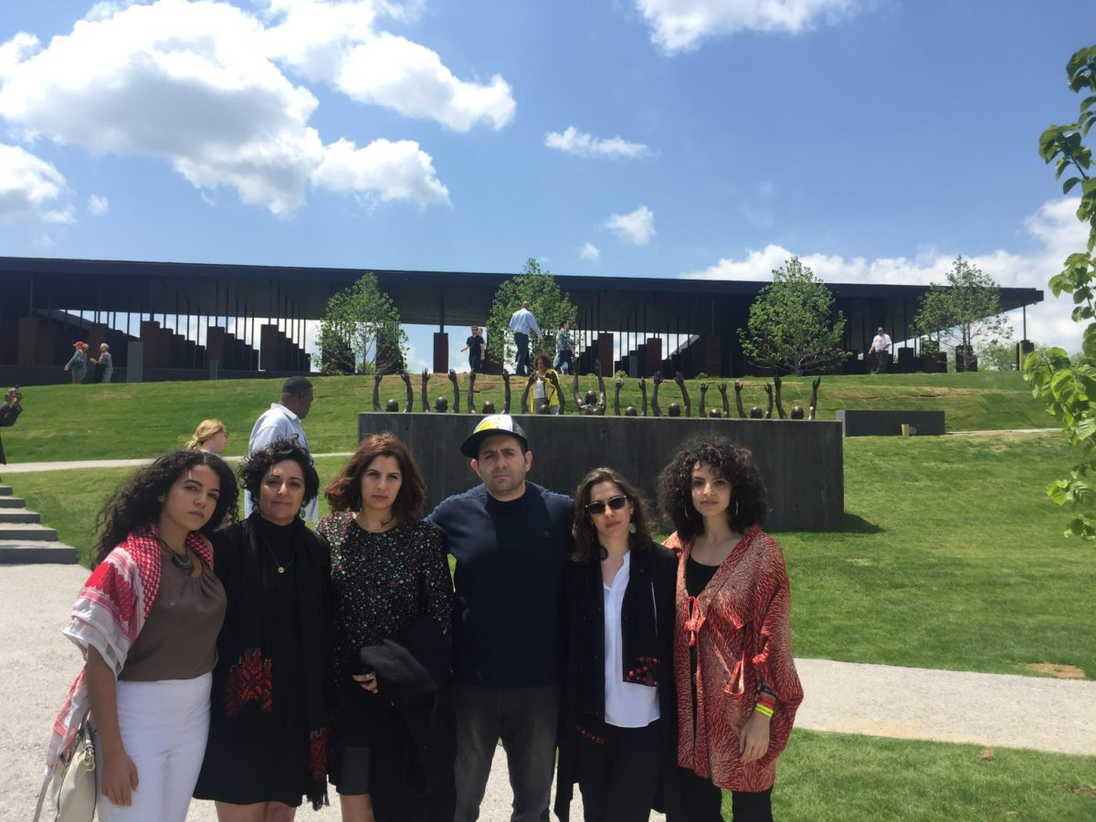 Delegates representing Adalah-The Legal Center for Minority Rights in Israel, the Adalah Justice Project, the US Campaign for Palestinian Rights, Palestine Legal and Jewish Voice for Peace at the National Memorial for Peace and Justice.