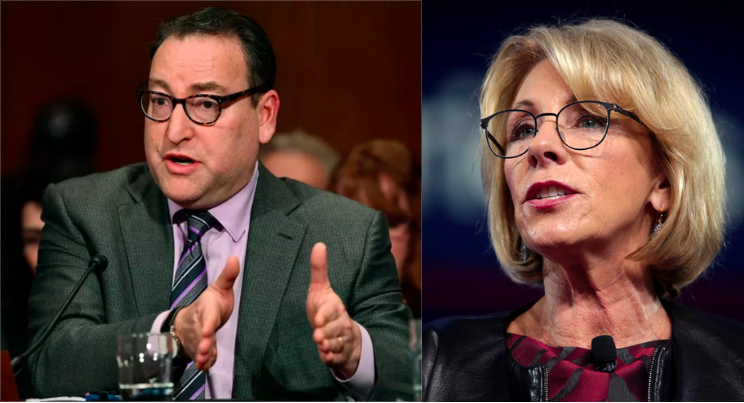 Left: Kenneth Marcus. Right: Betsy DeVos.
