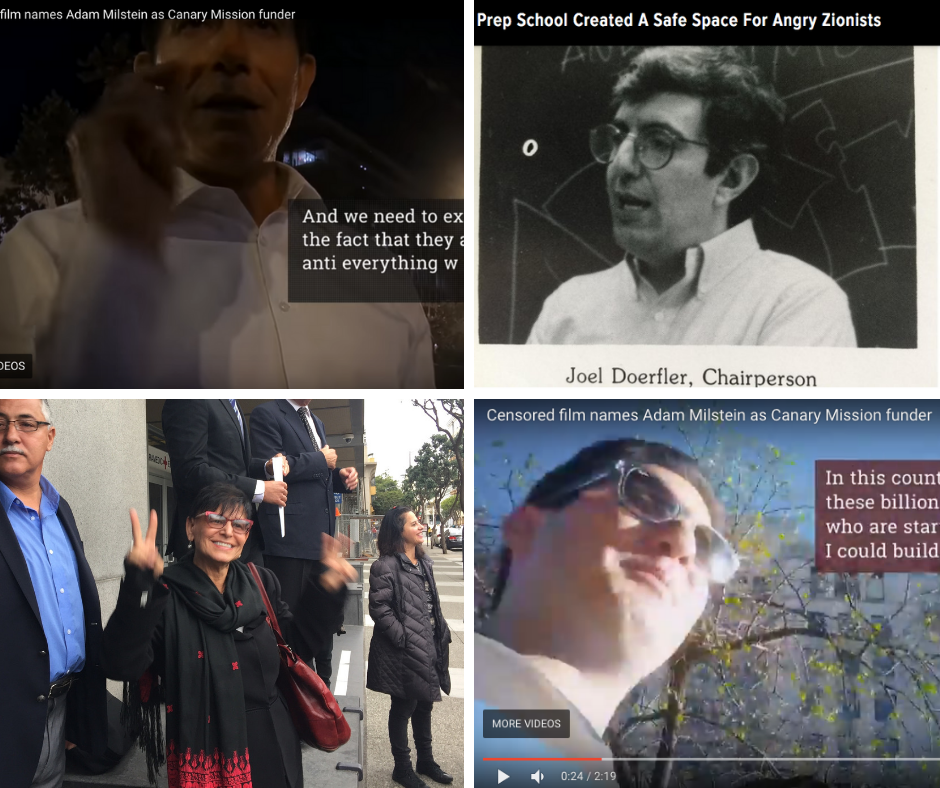 Top left and bottom right: footage from a leaked Al Jazeera documentary exposing Canary Mission's funder. Bottom left: Professor Rabab Abdulhadi. Top right: former Riverdale teacher Joel Doerfler.