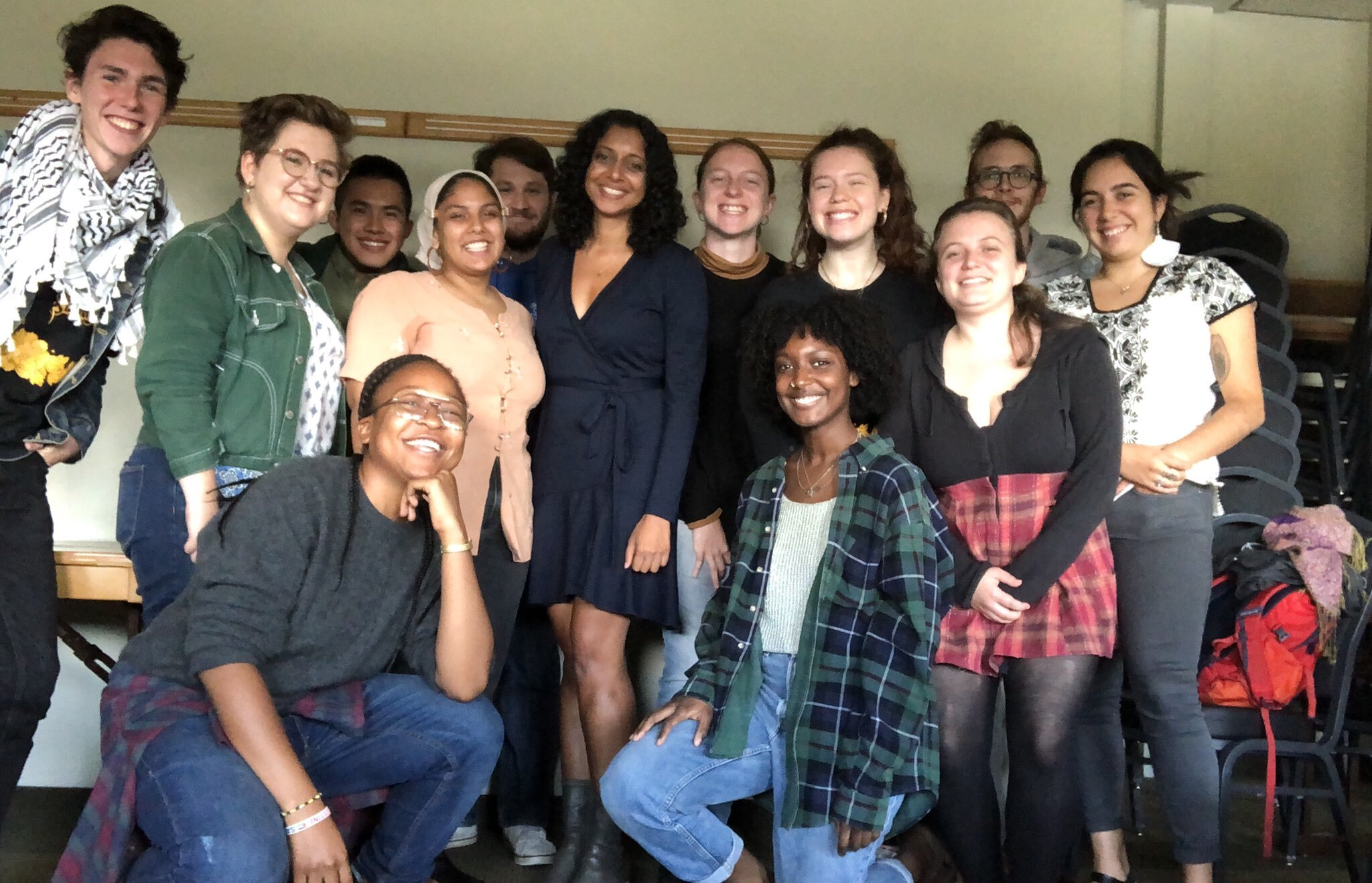 Senior staff attorney Radhika Sainath with members of UMass Amherst SJP after a Know Your Rights workshop.