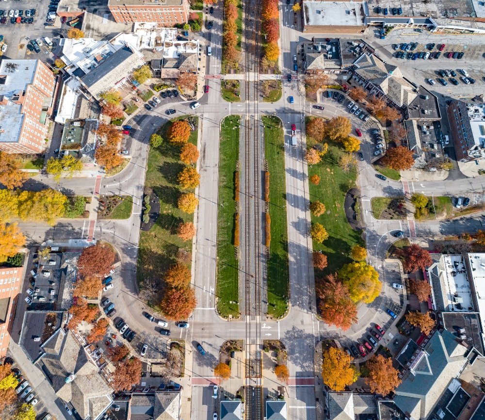 An aerial image of Shaker Square as it exists today. What will the future hold?
