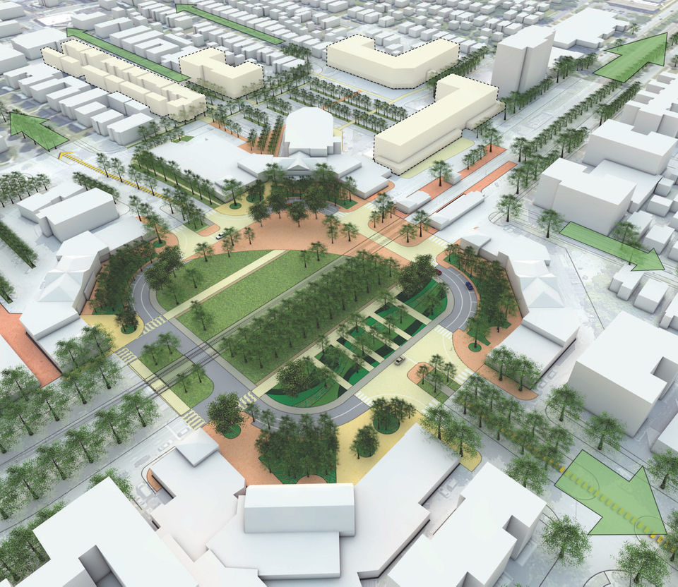 In an early design concept by Hargreaves Associates that received intensive media attention, Shaker Boulevard would be closed through Shaker Square to create additional open space.