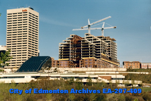 Canada Place was built between 1985 - '88 and displaced a portion of Edmonton's original Chinatown.