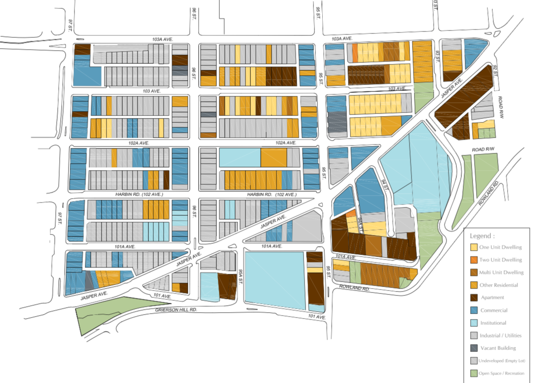 From The City of Edmonton's 'The Quarters Downtown: Urban Design Plan'. A detail of Figure 2-4: Existing Land USe.