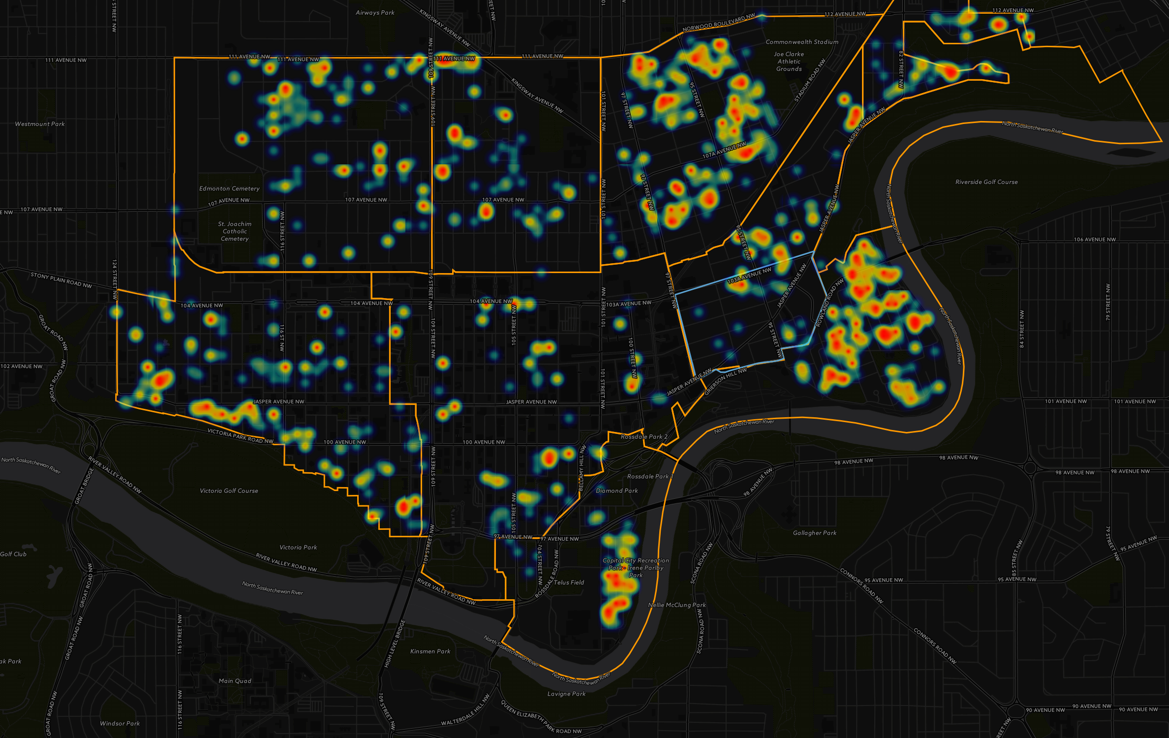 Figure 6: Heat map of Edmonton's downtown neighbourhoods. This heat maps is showing clusters of residential (all housing types) building permits.