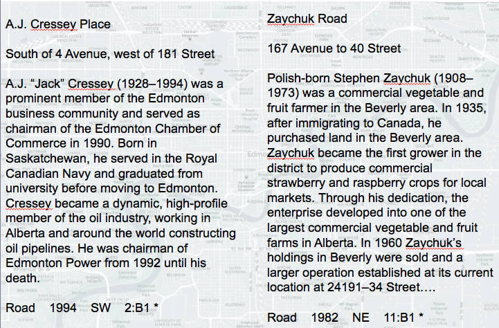 The 'A' to 'Z' of Edmonton's names.