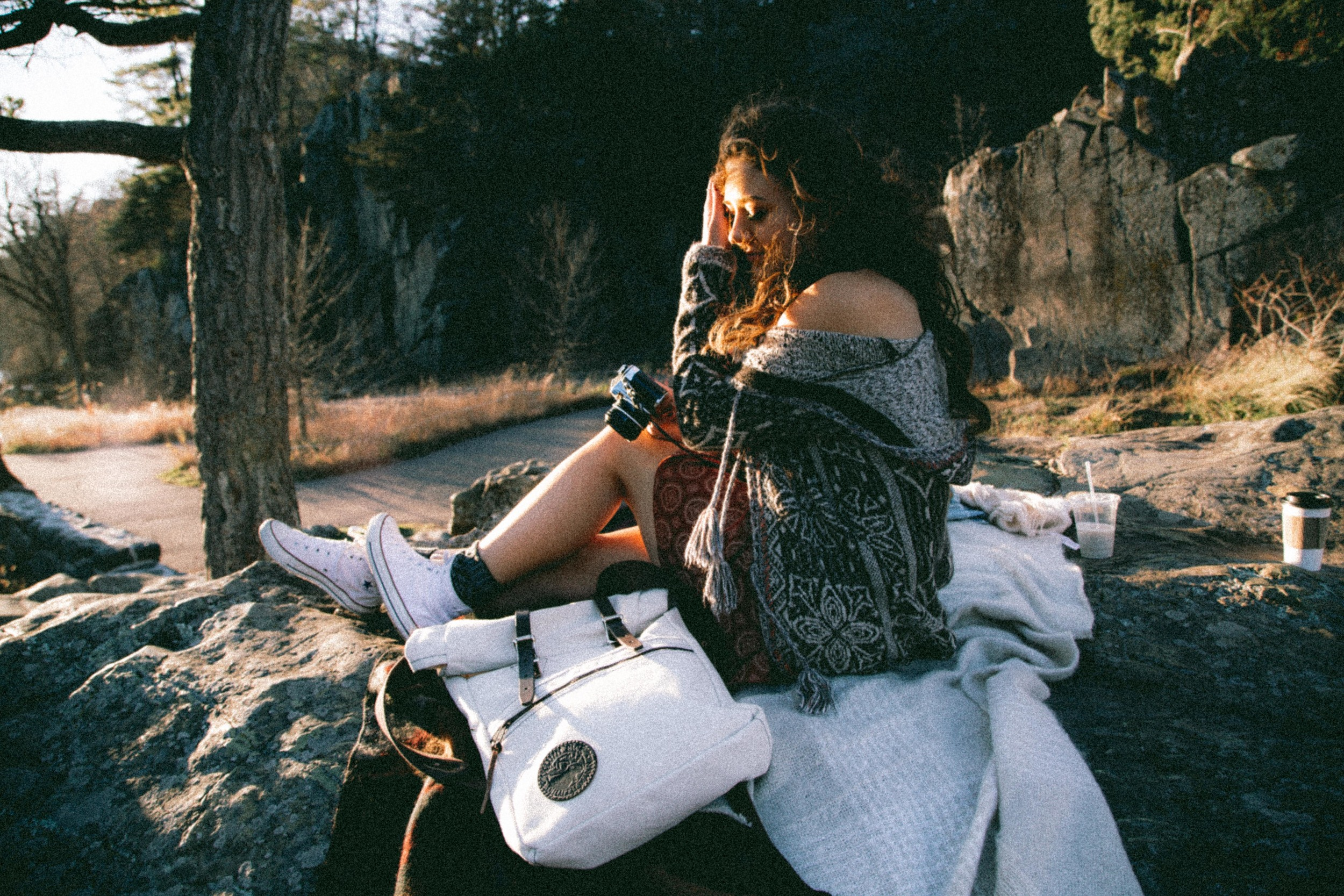 Brandy Melville   Abigail Dress |  Free People  Hooded Combo Tassel Sweater |  Chuck Taylor All Star   High Tops in Optical White