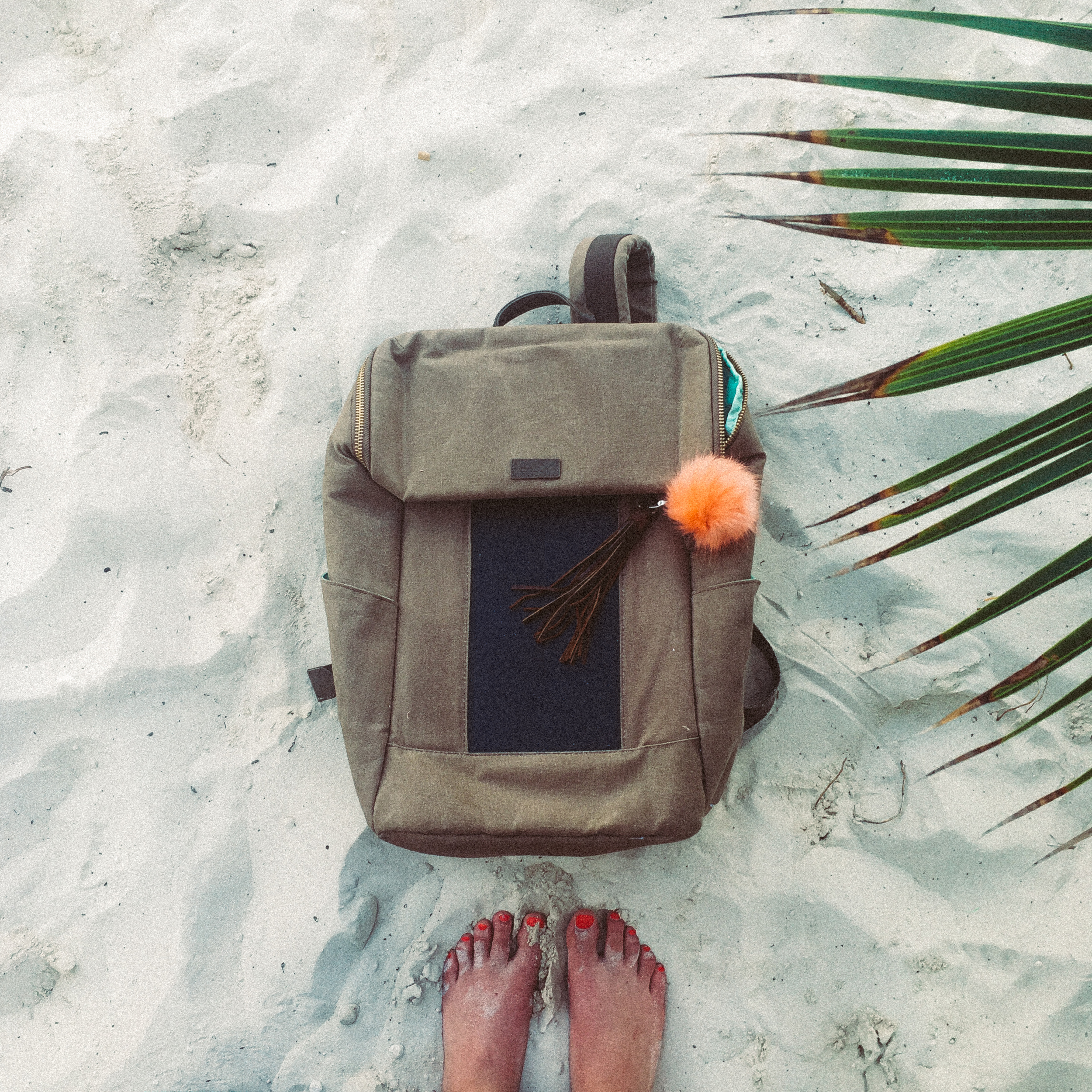 London - Tan Backpack   by BirkSun (Solar powered to charge phone!)