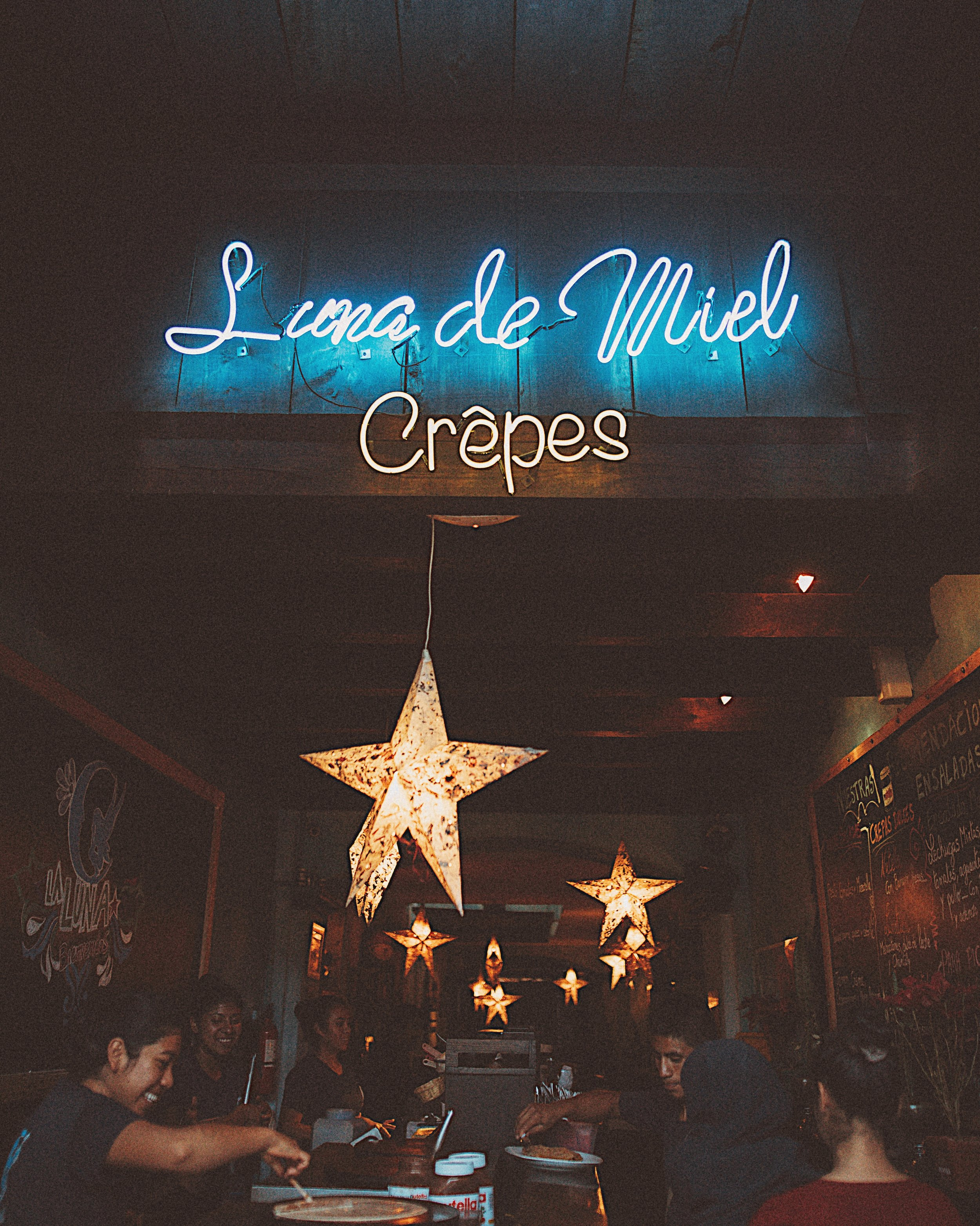 "ate a handmade crepe with coconut ice cream and chocolate chips at  Luna de Miel , which means ""honey moon"" in Spanish."