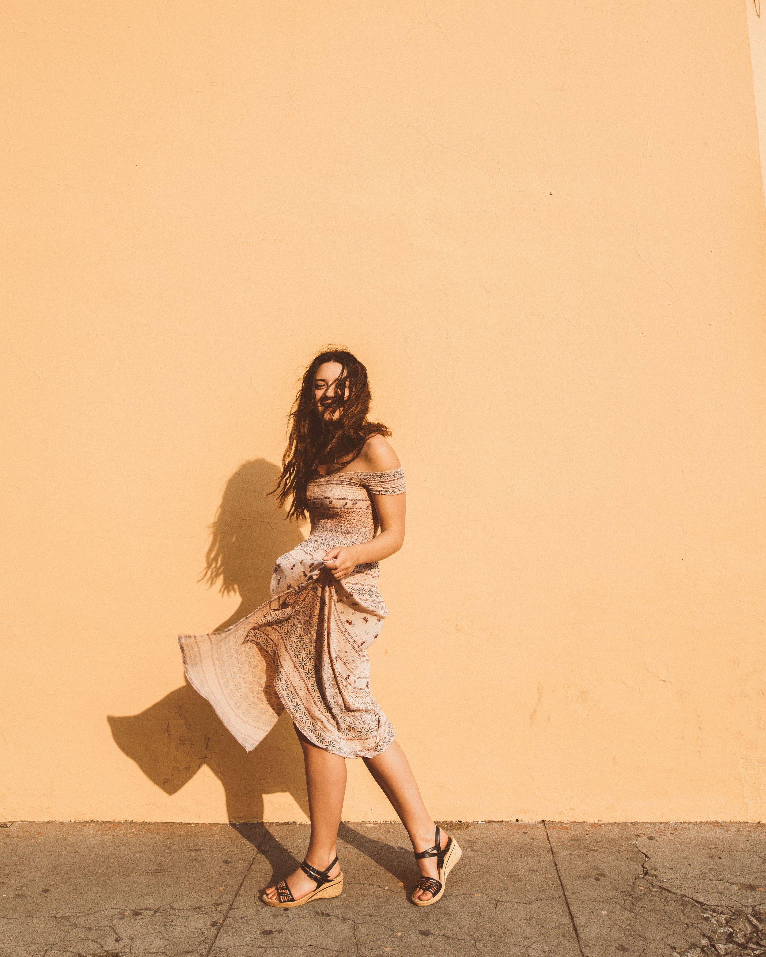 roaming around in the sunshine -- and finding every sunshine-colored wall in sight.