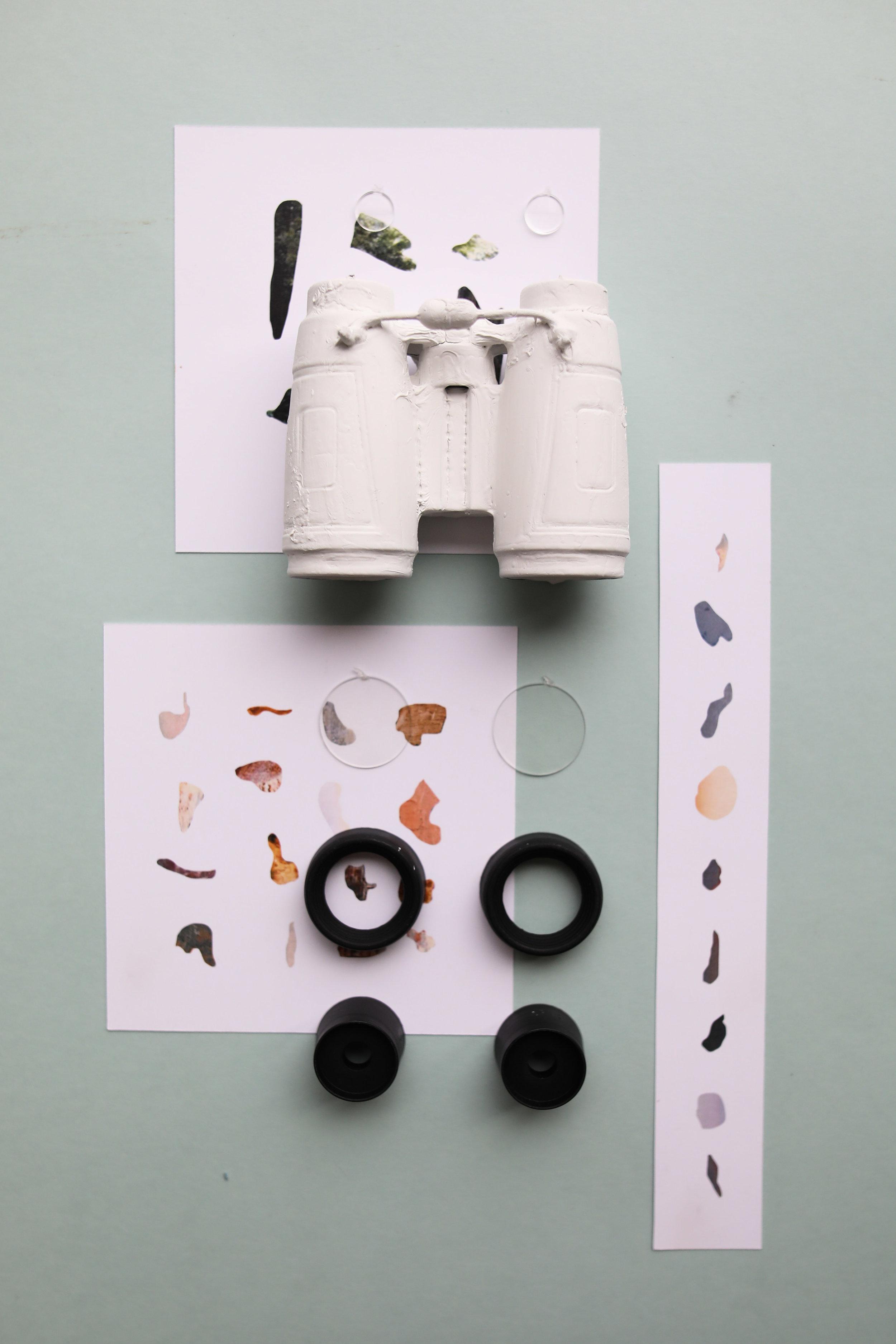 #BINCOUL_RS, 2017  Plastic Binoculars  Acrylic Paint  Paper