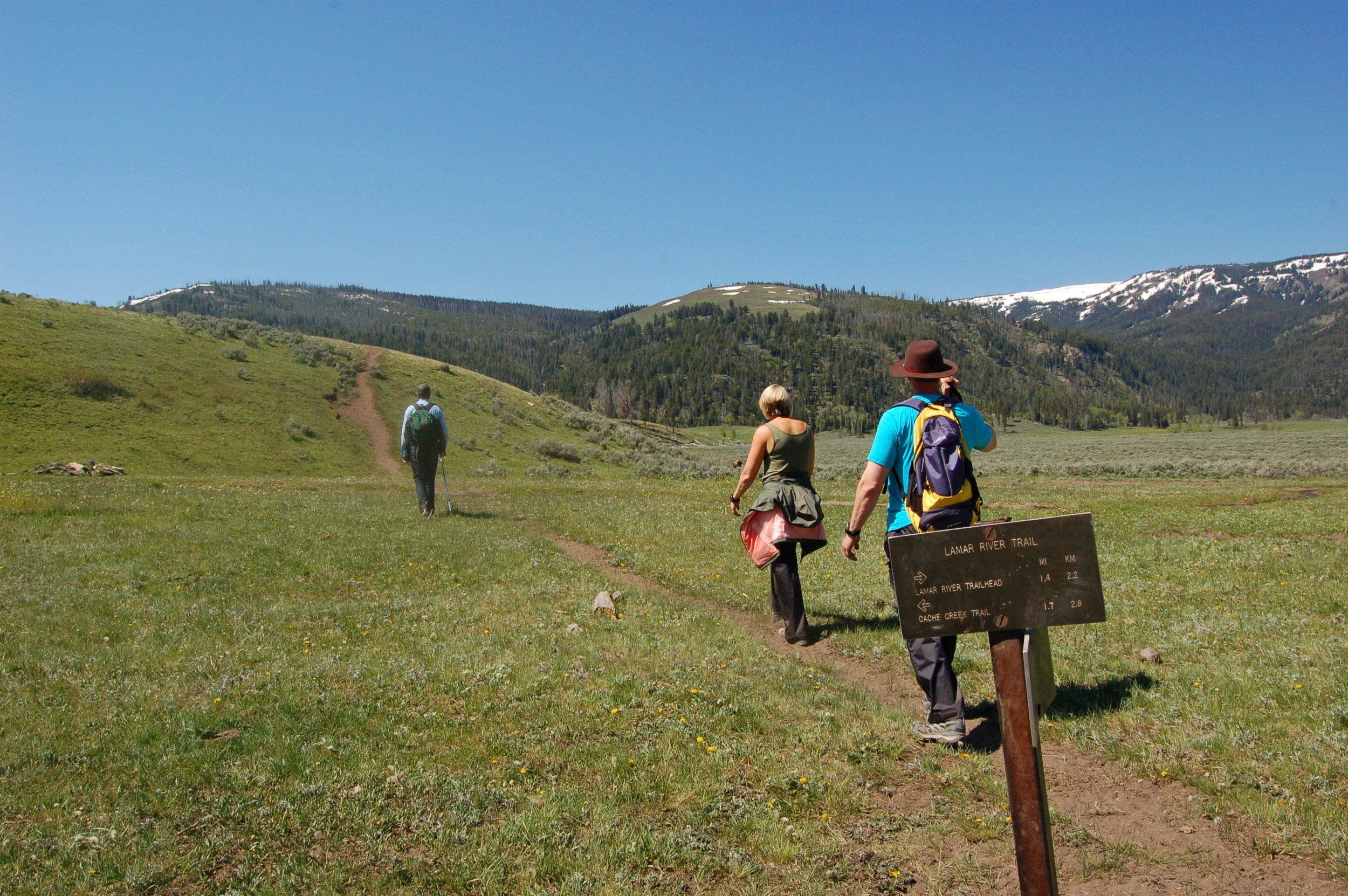 Hiking the Lamar River Trail in Yellowstone National Park.