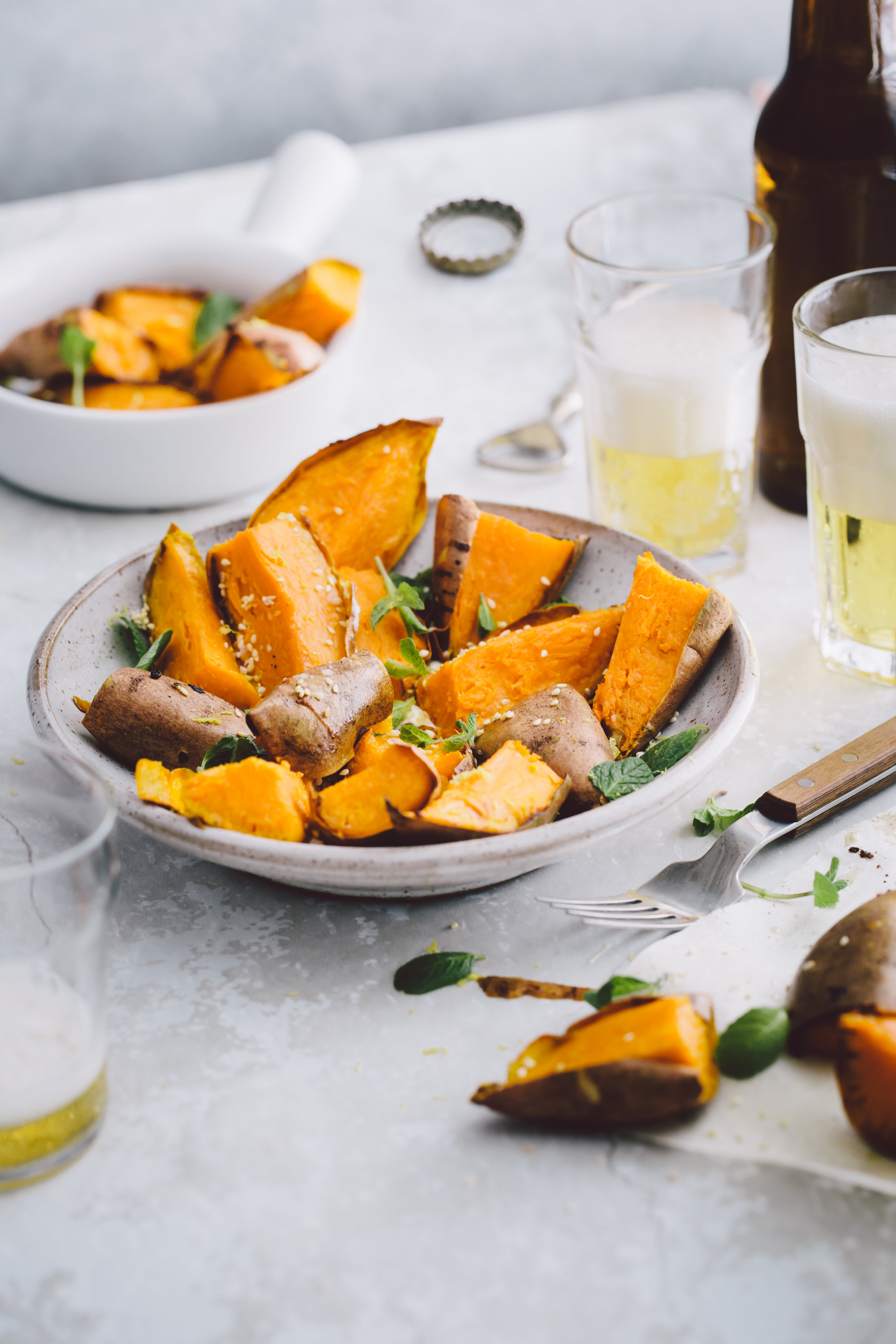 Roasted Sweet Potatoes with mints