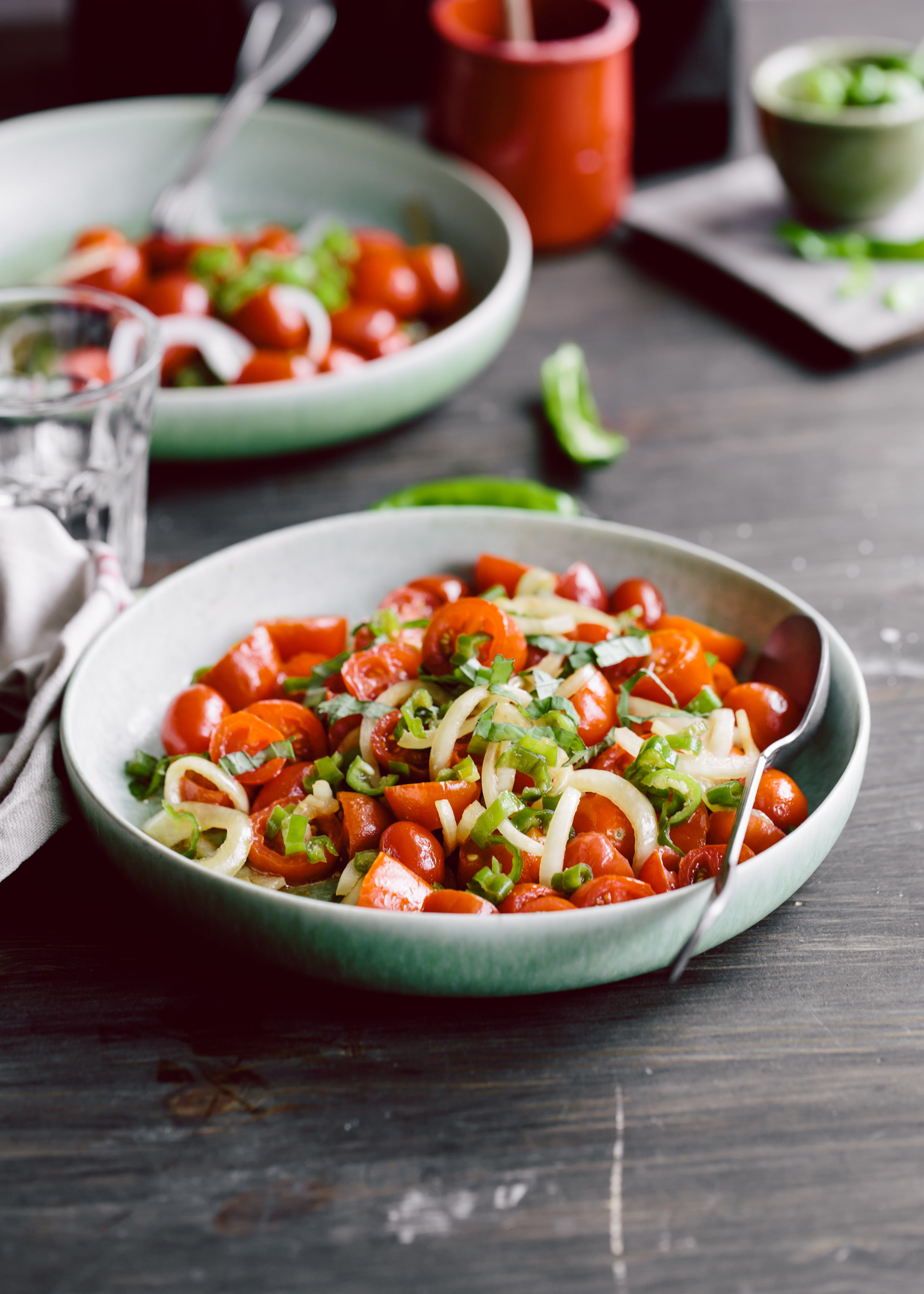 Tomato, Onion and Green Pepper Salad with Shiso