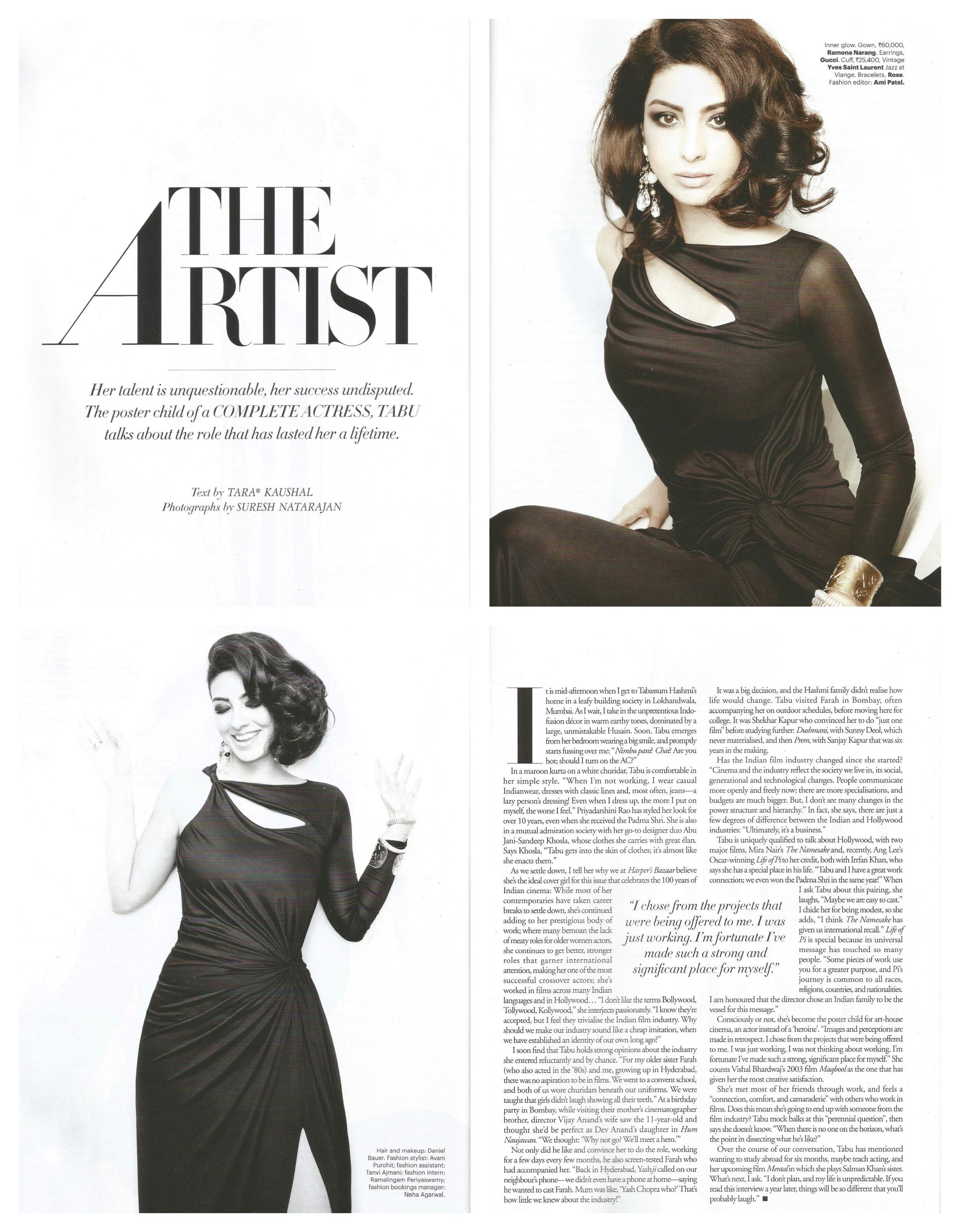 The  Harper's Bazaar  cover story.