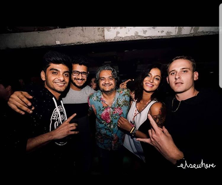 Karan (second from left), Sahil (centre) and I with some friends at Elsewhere on a previous occasion.