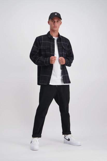 Wool Check Shacket (Black) - $179.90
