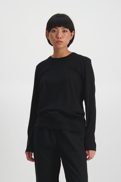 Merino Lon Sleeve Laneway Tee (Black) - $119.90