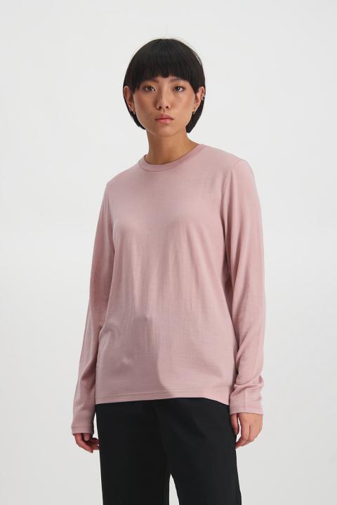 Merino Lon Sleeve Laneway Tee (Pink) - $119.90