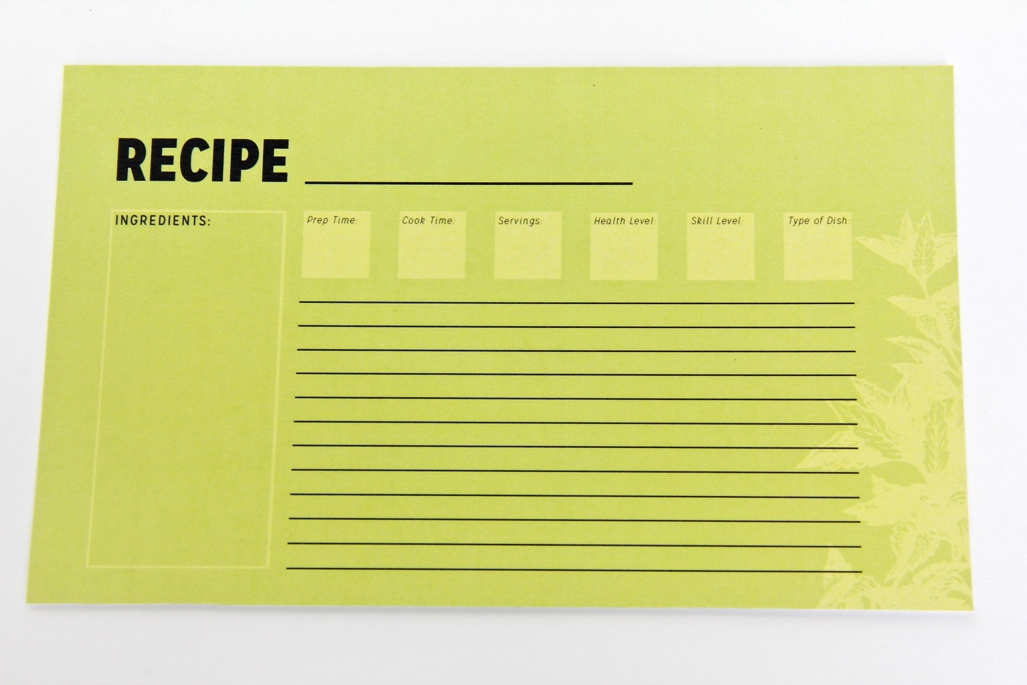 Recipe Cards behind Care Cards