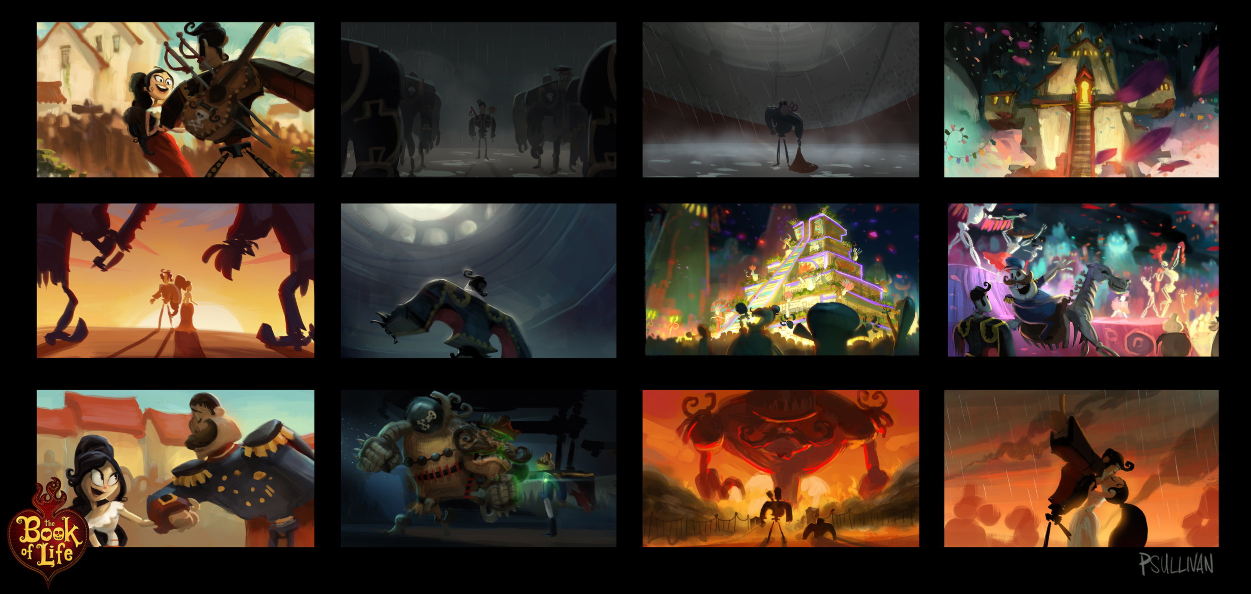 Some color script paintings I had to cut from the color script after story or palette changes.