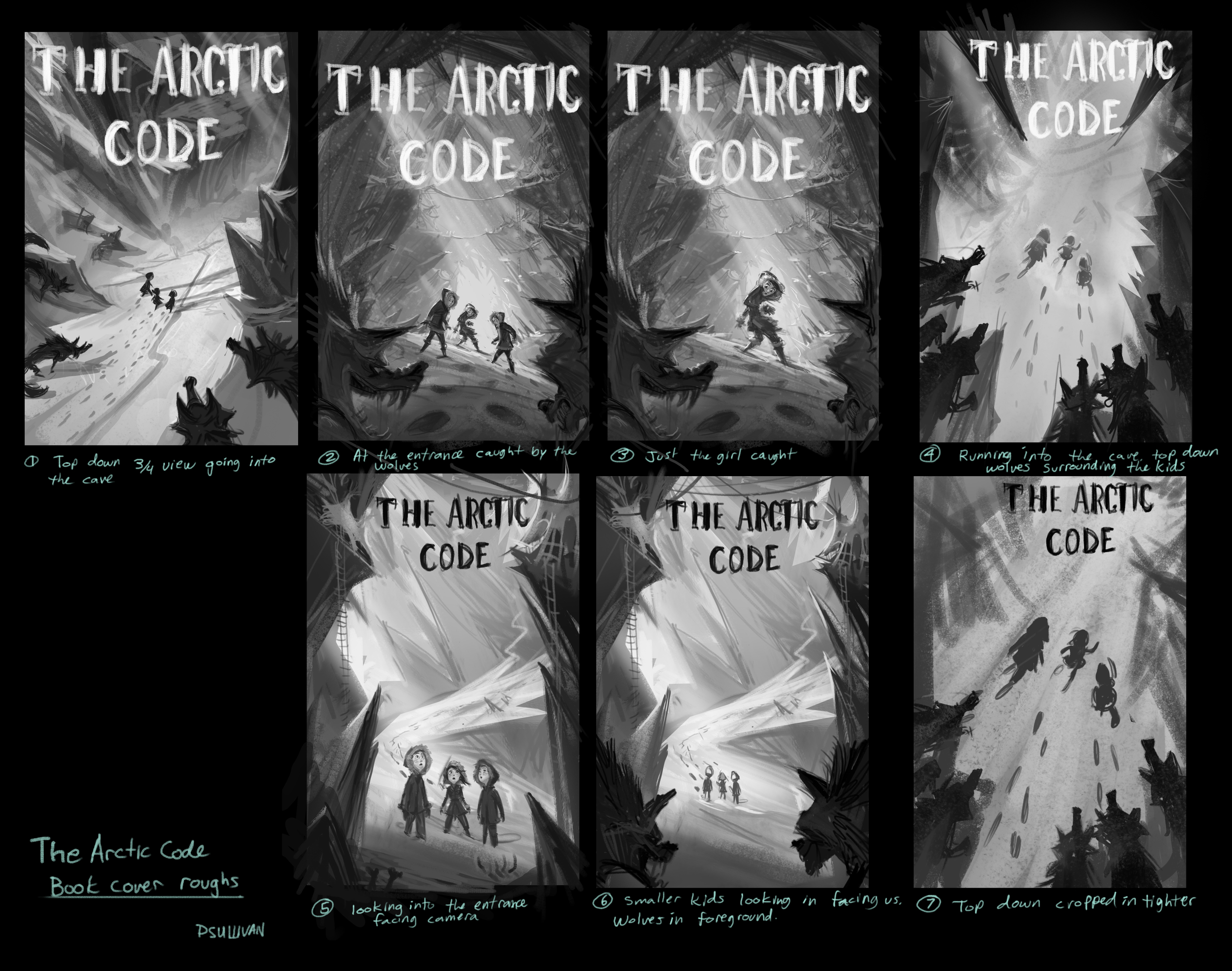 Arctic Code cover roughs by Paul Sullivan