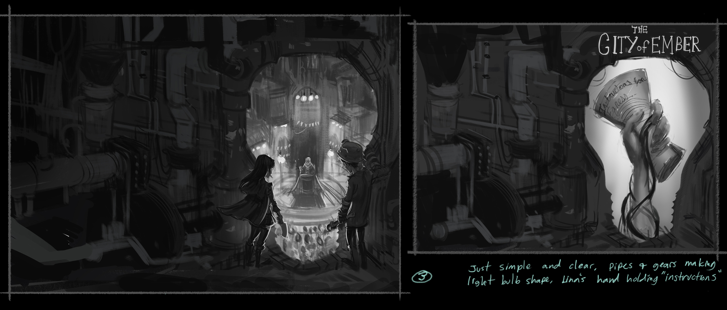 Some examples of the roughs for book 1