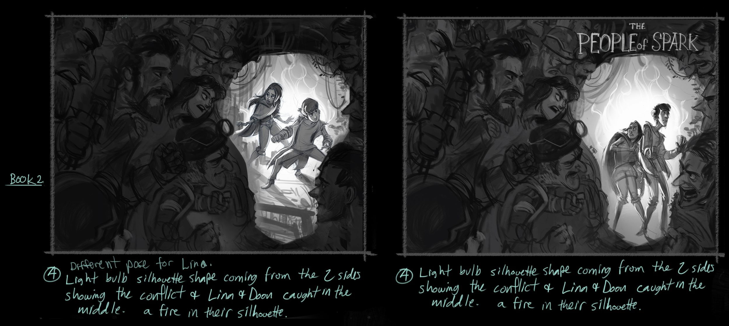 More people of Sparks roughs showing the conflict. I'm glad I didn't have to paint all of those people...