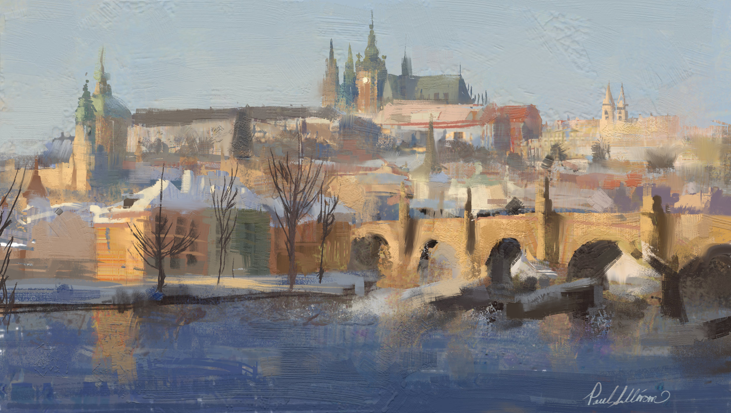 Prague Mala Strana study, more edge and brush play