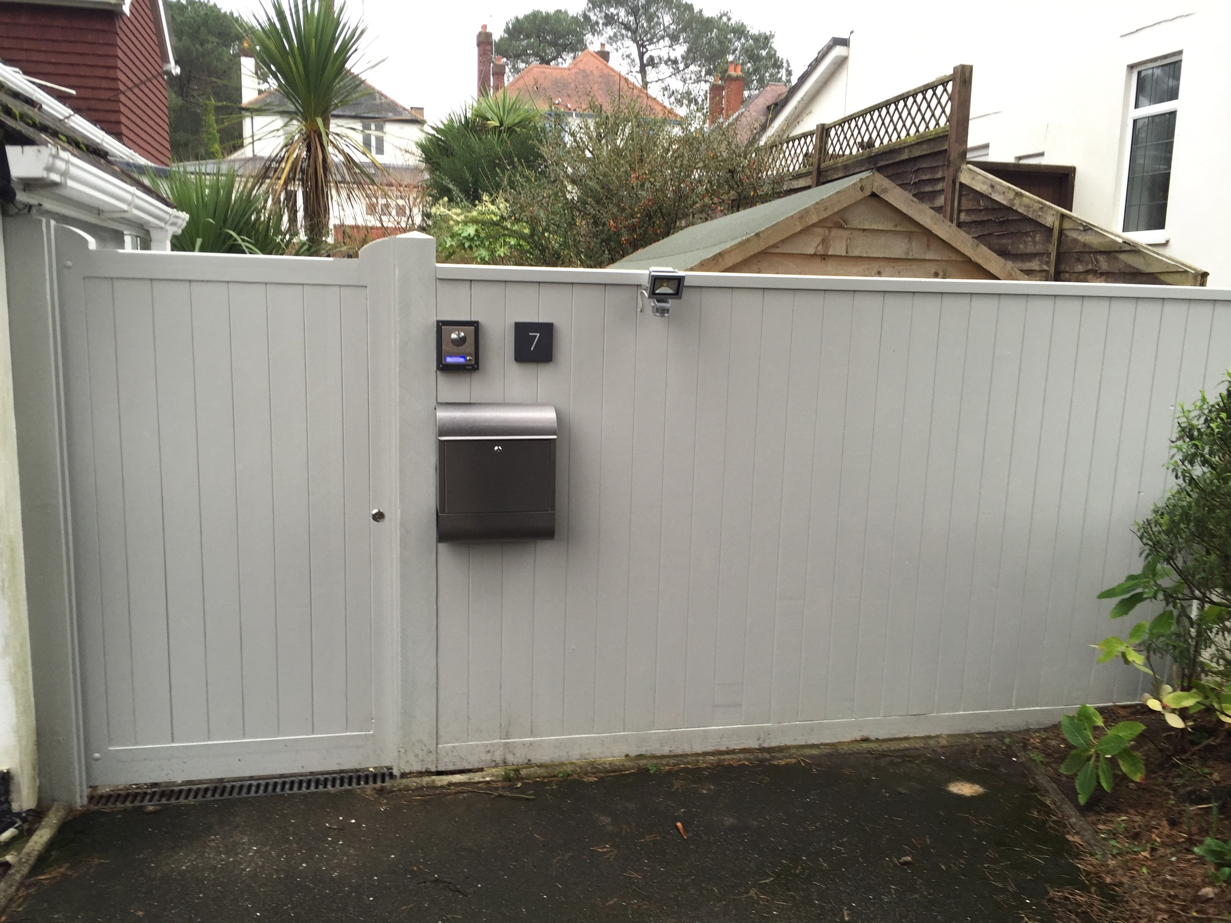 Showing after Customer paint job and automated opener fitted.