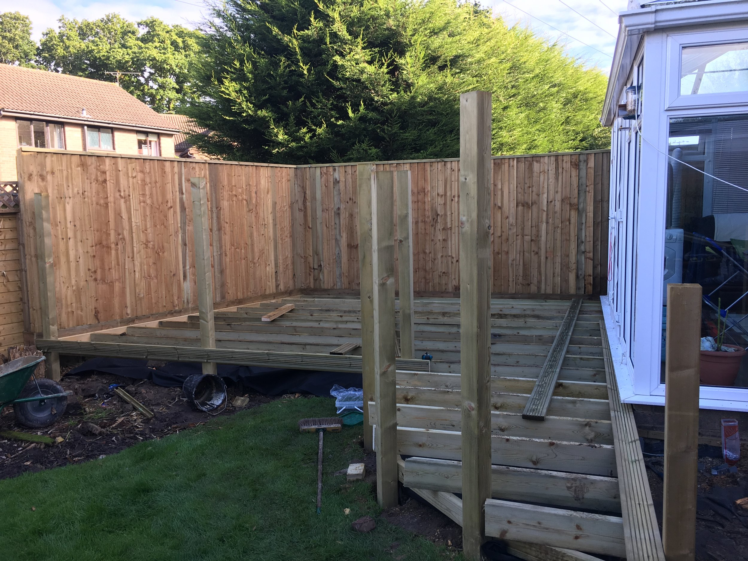 Our frame in place, there are 6 inch sub joists supported from concrete posts sitting underneath the main frame giving extra strength.