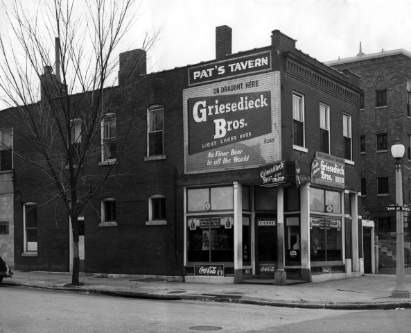 Original Exterior, mid-1940s - The original storefront of this iconic St. Louis landmark building. Before the V9 Budweiser was installed, Pat's was a Griesedieck Bros. bar. We recently partnered with the Dogtown Historical Society to have this original mural restored!