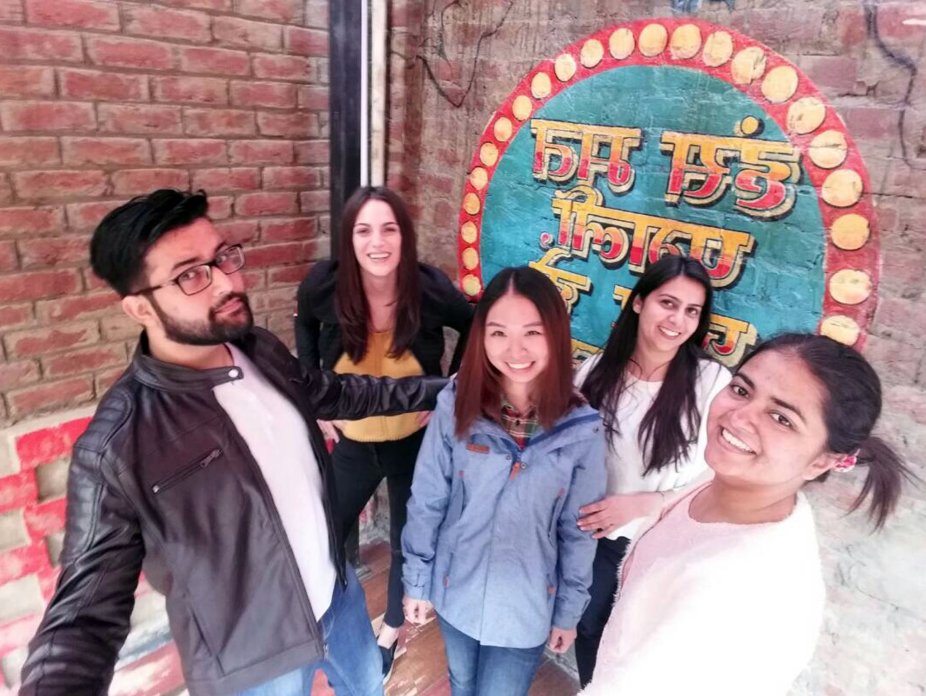 The design team, from left to right: Mohit, me, Lucy, Jasleen mam and Isha
