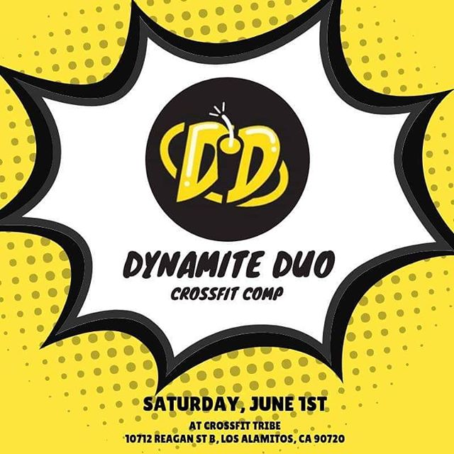 6th ANNUAL DYNAMITE DUO is open for registration! [LINK IN BIO] Like last year, this year's Duo will be a competition with partners of the same sex. •• There are 3 divisions: Rx, RX Masters and Scaled (all ages) •• The competition will consist of three workouts •• Early Registration (by April 3oth) for this event will be $120 per pair, and go up to $150 on May 1st. The registration will cover the cost of the t-shirt an prizes for the top finishers. •• We are capping the competition at 60 teams. •• Teams must register NO LATER THAN MAY 25th!!! . .  Movements List (subject to change) Burpees  Toes-to-Bar (scaled Knee Raises) Box Step Overs  Chest-to-Bar Pull-ups (scaled Ring Rows) Deadlifts  Thrusters  Snatches DB Power Snatch  Handstand Walks  Clean & Jerk  #tribe #tribestrong #dynamiteduo #registertoday #competitionready #losalamitos #lakewood #longbeach #cypress #cerritos #pasadena