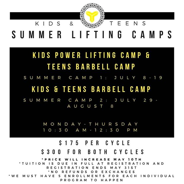 Now's the time to join our TRIBE Kids & Teens Summer Lifting Camp! . . . This summer we will be holding two different summer camp options. Each will run for two weeks, Monday-Thursday from 10:30am-12:30pm. Camp One runs from July 8-19th and Camp Two runs from July 29- August 8th. . . . Kids Camp session one explores the fundamentals of movement and the benefits of classic power lifting moves- squat, dead lift and bench press- in a safe, age and skill appropriate setting. The second Kids Camp will then switch over to Olympic Lifting, where they will be exposed to the Snatch and Clean and Jerk movements. This will also be done within a safe, age and skill appropriate setting. . . . Teens will explore Olympic lifting basics- Snatch, Clean and Jerk and Squat-  for the first Summer Camp and move into more advanced movement as the summer progresses.  Our intention is to teach them proper form while gaining confidence in their Olympic Lifting movements while having FUN! . . . If this sounds like something you or someone you know would be interested in then come join our specialized training camps this summer. Can't wait to see you all there! . . . Please contact Coach Adam: adam@tribefunctionalfitness.com  #tribe #tribestrong #tribekids #tribeteens #summercamp #getstrong #getstronginsummer #cypress #cerritos #longbeach #losalamitos #sealbeach #lakewood