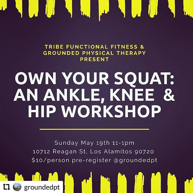 #RepostPlus @groundedpt - - - - - - Come geek out about your anatomy, your mobility, your form with @mandirigma1999 and I!! We will guide you to really own your squat!! Sign-up at the front desk!