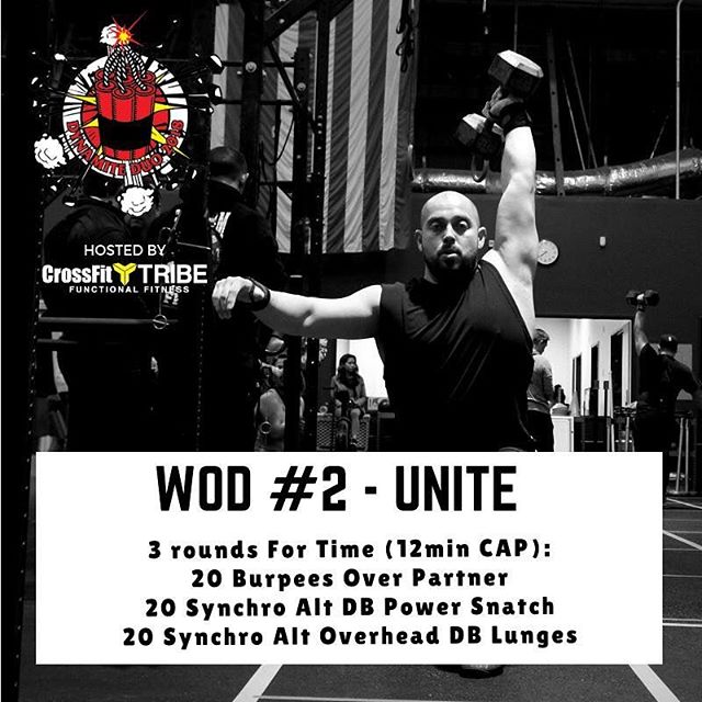 Register in bio using link before the price goes up on May 13th! ———— WOD 2 – Unite •••••• Rx  3 rounds For Time (12min CAP): 20 Burpees Over Partner (Partner in High Plank)  20 Synchro Alt DB Power Snatch (50/35)  20 Synchro Alt Overhead DB Lunges (50/35) Masters Rx  3 rounds For Time (12min CAP): 16 Burpees Over Partner (Partner in High Plank)  16 Synchro Alt DB Power Snatch (50/35)  16 Synchro Alt Overhead DB Lunges (50/35) Scaled 3 rounds For Time (12min CAP): 20 Burpees Over Partner (Partner Laying On Stomach) 20 Synchro Alt DB Power Snatch (35/20) 20 Synchro Alt Overhead DB Lunges (35/20) ••••••• #dynamiteduo @crossfitresistance @crossfitcrowncity @spry_society @nui_nation @superhuman_crossfit @nxtlvlsportandfitness @crossfitreason
