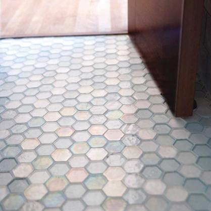 Hexagon glass mosaic from Oceanside Glass Tile.