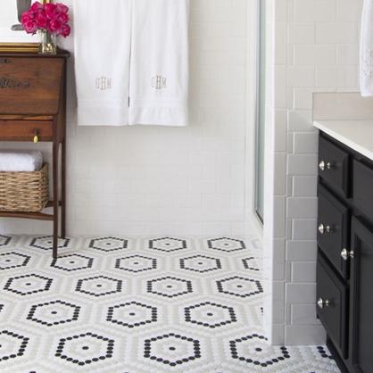 Hexagon tile floor mosaic.
