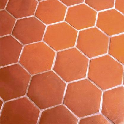 Terracotta hexagon tiles.