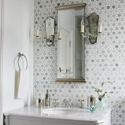 Beautiful wall mosaic made up of small hexagons.