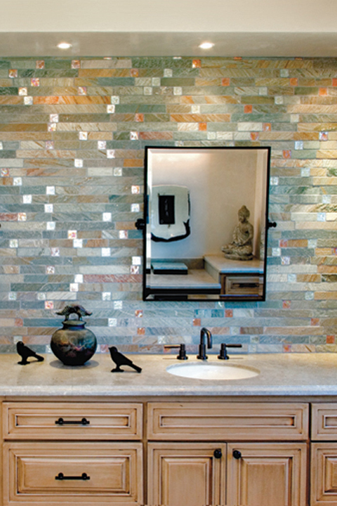 Stone and glass moasic Fire & Ice Brick.
