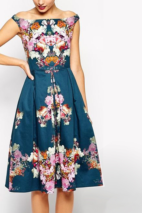 Floral midi Bardot dress.