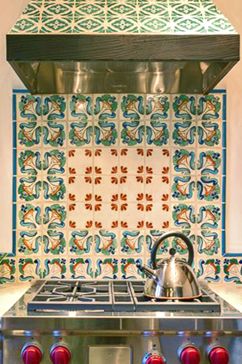 Floral back splash by Statements In Tile/Lighting/Kitchens/Flooring.