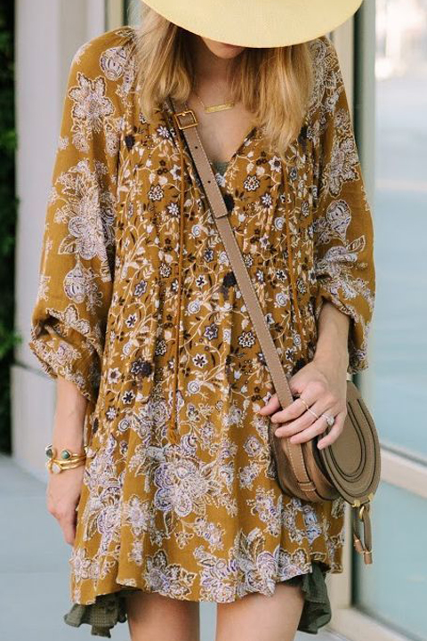 Boho chic in mustard with a floral pattern.