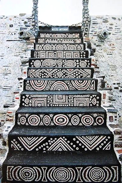 Stair risers in tribal patterns.