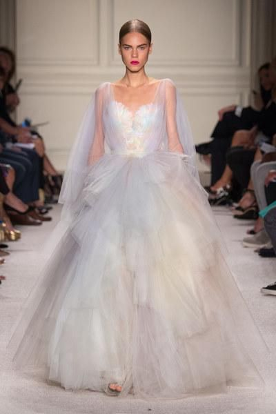 Sheer White Tulle A-Line Gown. Marchesa Spring 2016 Ready-to-Wear Fashion Show.
