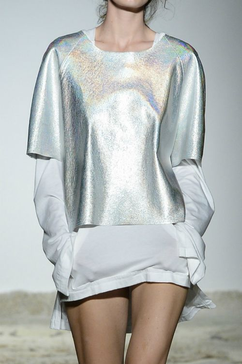 Shimmery Silver Shift by Givenchy Runway Baja East Spring/Summer 2015.