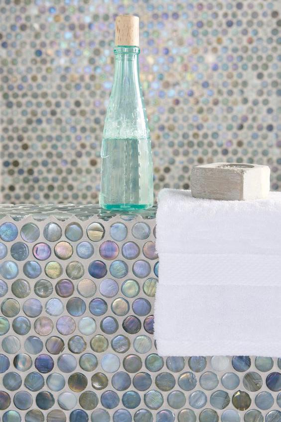 Circular Tile Mosaic in Shades of Blue