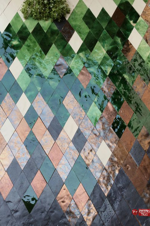 Gold and Green Art Deco Diamond-Shaped Tiles.